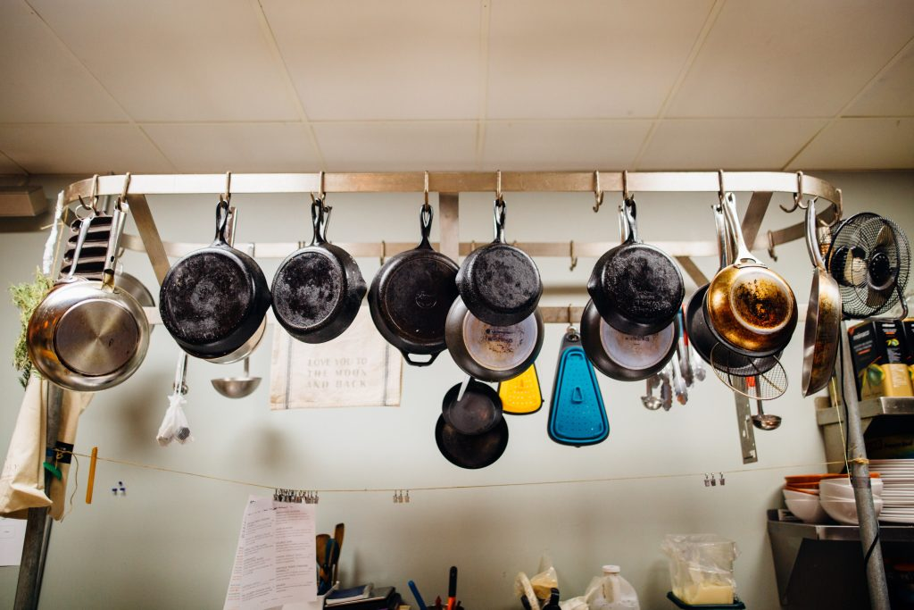 hanged pots and pans
